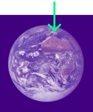 planet earth with arrow pointing to a place on European continent