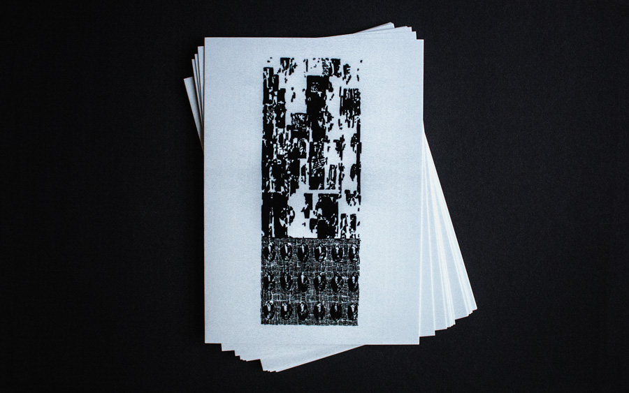 postcards with monochrome black offset print of a traced generative livecoding drawing